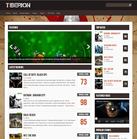 Тема Tiberion для wordpress