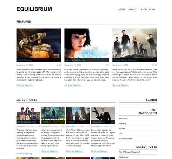 Тема Equilibrium для wordpress