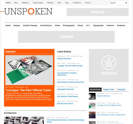 Тема Unspoken для wordpress